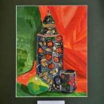 Serge Khlynovskiy. 10 years old. 2013.  Khokhloma painting.