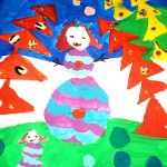 Alena Govorelenko.6 years old. Snowwomen. Gouache. 2011
