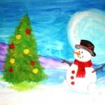 Alexandr Dudar. & years old. Snowmen. Gouache. 2011