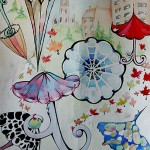 Alisa Rosan. 11 years old. Umbrellas. Watercolours painting. 2005