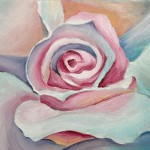 Alisa Rosan. 14 years old. White Rose. oil painting. 2008