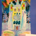 Anastassia Martunova. 8 years old. The castle of the Snow Queen. Watercolour painting.2001