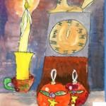 Anastassia Martunova. 8 years old. Traditional Christmas. Gouache. 2001