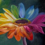 Arina Gerasimova. 10 years old. Rainbow Flower. Oil painting. 2011