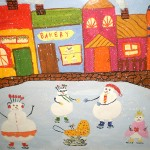 Arina Gerasimova. 10 years old. Snowman Fun. Gouacheю 2011