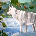 Janya Yakunina. 11 years old. Snow Wolve. Gouache. 2012