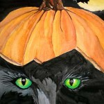 Julia Juravleva. 11 years old. Black Cat.  Watercolours painting. 2010
