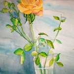 Julia Juravleva. 11 years old. Rose. Watercolours painting. 2010