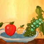 Liza Makarova. 7 year old.  Fruits. Gouache.