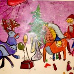 Milana Tcholakova. 5 year old. Christmas time. Gouache. 2011