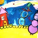 Milana Tcholakova. 5 years old. Snowmen. Gouache. 2011