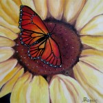 Gitana Rassin. Sun Flower and Buterfly. Oil Painting. 2012