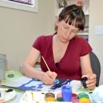 Natasha Terekhova painting winth gouache. 2012