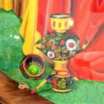 Anastasyia Lazarenko. Art Classes. Still Life. Khokhloma Painting. Samovar. 2013