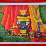 Jenya Yakunina.  Art Classes. Still Life. Khokhloma Painting. Samovar. 2013