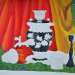 Art Classes. Still Life by Jenya Yakunina. Khokhloma Painting. Samovar. 2013