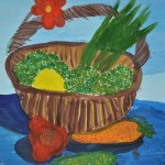 Daria Brumar. Gouache. 5 years old.  Bucket of the veggies. 2015
